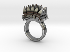 Ferocious Spiked Band (Size 8) in Fine Detail Polished Silver