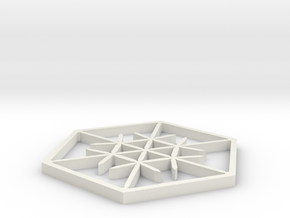 Snowflake Coaster in White Natural Versatile Plastic