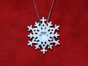 Layered Snowflake Pendant in White Processed Versatile Plastic