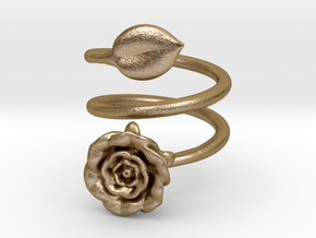 Wrap (Double) Ring - Rose in Polished Gold Steel