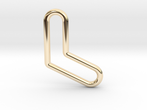 Aussie Boomerang Tubular Pendant in 14k Gold Plated Brass
