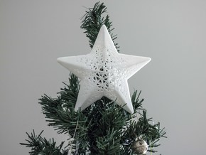 Modern Christmas Star in White Processed Versatile Plastic