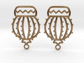 Cactus Ball Earrings in Natural Brass
