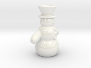 Snowman Candle Holder in Gloss White Porcelain