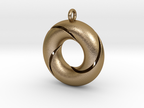 Trefoil-sierraad in Polished Gold Steel