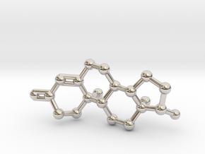 Testosterone (male sex hormone) Keychain Necklace  in Platinum