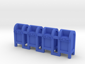 Mail Box - 'N' 160:1 Scale Qty (4) in Blue Strong & Flexible Polished