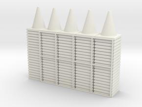 100 Traffic Cones (Stackable), 1/32  in White Natural Versatile Plastic