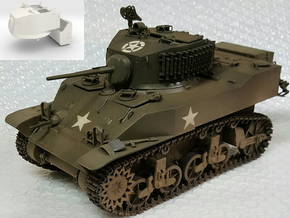1:18 USA M5A1 Turret & Bustle for Light Tank in White Natural Versatile Plastic