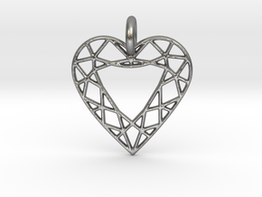 Heart Diamond Pendant in Natural Silver