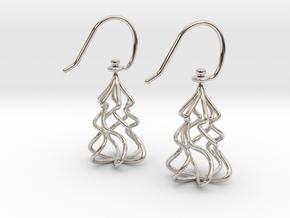 Christmas Tree Twirl in Rhodium Plated Brass