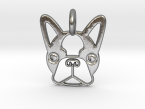 Boston Terrier Pendant in Natural Silver