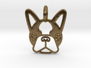 Boston Terrier Pendant in Natural Bronze