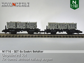 SET 6x Eoskrt 021 Behälter (Roco) (N 1:160) in Smooth Fine Detail Plastic