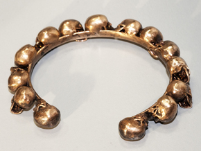 Human Skull Bracelet  in Raw Brass