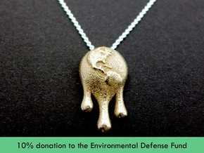 Climate Change Pendant - Nature Jewelry in Polished Bronzed Silver Steel