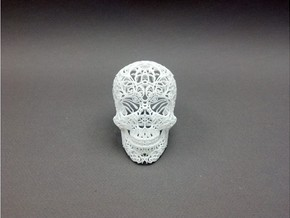 Skull Filagree v1 - 12.7cm in White Strong & Flexible