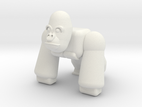 Rambo the Gorilla in White Natural Versatile Plastic: Small