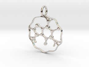 Caffeine Molecule pendant in Rhodium Plated Brass