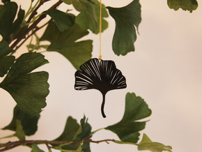 Ginkgo leaf pendant in Black Natural Versatile Plastic