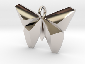 Simple Butterfly Necklace in Rhodium Plated Brass