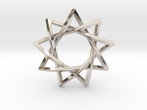 9 Pointed Penrose Star in Rhodium Plated Brass