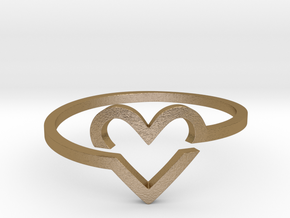Heart Ring in Polished Gold Steel