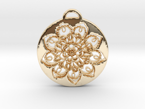 Flower Mandala Pendant in 14k Gold Plated Brass