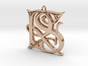 Monogram Initials RS Pendant  in 14k Rose Gold