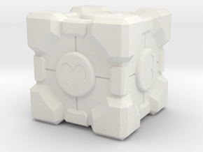 "Weighted Portal Cube (In Color) - Heart 2"" in White Natural Versatile Plastic"