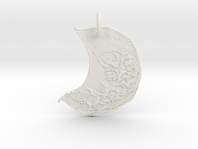 Floral Waxing Crescent Moon by Gabrielle in White Natural Versatile Plastic
