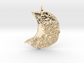 Floral Waxing Crescent Moon by Gabrielle in 14k Gold Plated Brass
