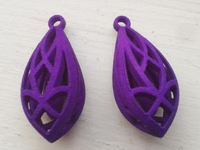 Teardrop shaped earrings in Black Natural Versatile Plastic