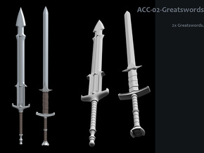 ACC-02-GreatSwords  6-7inch v2.2 in White Processed Versatile Plastic