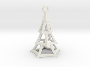 Cartoon Xmas Tree 100mm With Hanger in White Natural Versatile Plastic