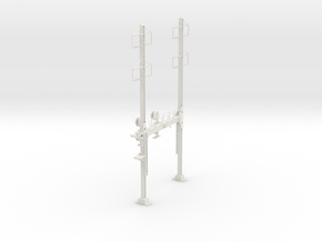 CATENARY PRR BEAM SIG 2 TRACK 2-2PHASE N SCALE  in White Strong & Flexible