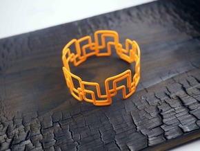 Modern Graphics Bracelet  in Orange Strong & Flexible Polished