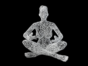 Wireframe Sitting Girl in White Natural Versatile Plastic: Medium