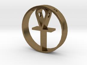Egyptian cross pendant for men. in Natural Bronze