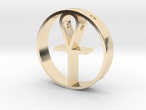 Egyptian cross pendant for men. in 14k Gold Plated Brass