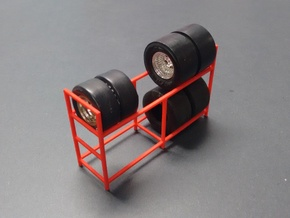 Tire Storage Rack 1/24 - 1/25 Scale Diorama in Red Processed Versatile Plastic