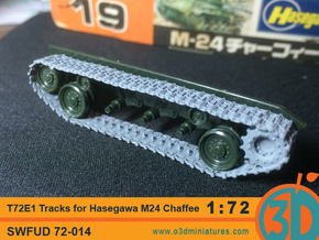 T72E1 tracks for Hasegawa M24 Chaffee 1/72 scale S in Frosted Ultra Detail