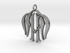 Monogram Initials NNA Pendant  in Natural Silver