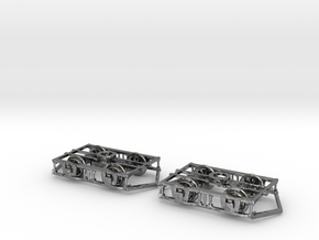 OO scale Lancaster Bogies With Ploughs And Wheels in Fine Detail Polished Silver