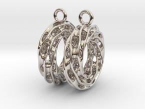 Twisted Scherk Linked 3,4 Torus Knots Earrings in Rhodium Plated Brass