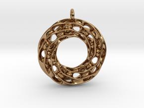 Twisted Scherk Linked 3,4 Torus Knots Pendant in Polished Brass