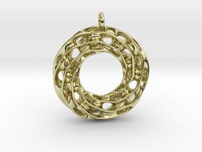 Twisted Scherk Linked 3,4 Torus Knots Pendant in 18k Gold