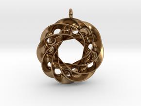 Twisted Scherk Linked 4,3 Torus Knots Pendant in Natural Brass