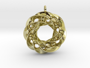Twisted Scherk Linked 4,3 Torus Knots Pendant in 18k Gold Plated Brass