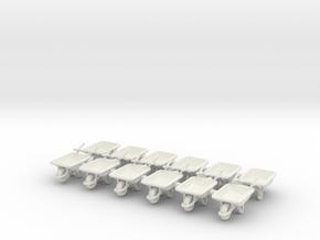 Wheelbarrow 01. 1:64 Scale in White Strong & Flexible